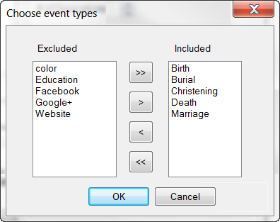 Event Type Selection
