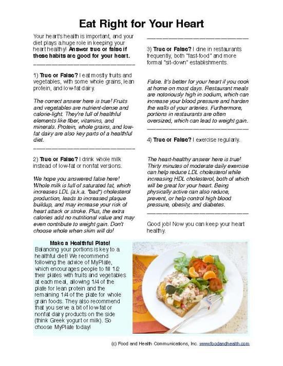 Free Patient Education Handouts Cholesterol