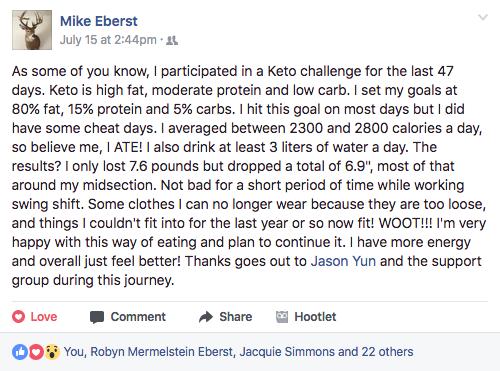 Mike Eberst Keto diet challenge testimonial