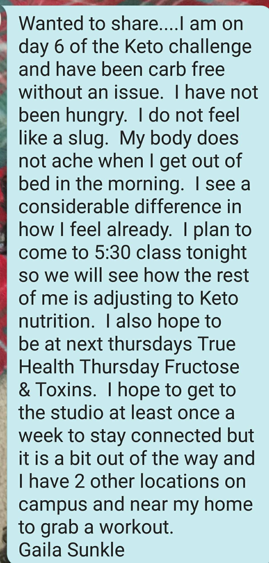 Gaila Sunkle Ketogenic Diet testimonial