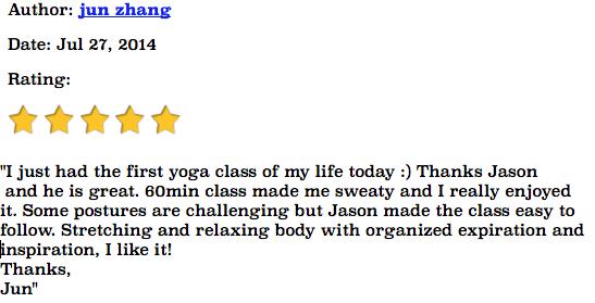 Jun Zhang Yoga testimonial