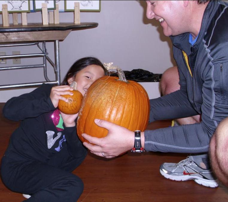 Kids love to workout with pumpkins