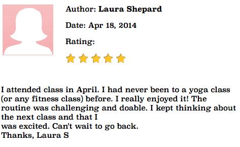 Yoga testimonial Laura Shepard