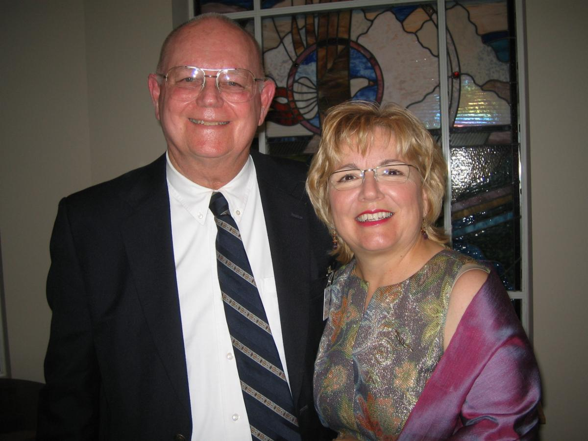 Dr Bob McCollough and Patti Moore at his retirement party in 2008