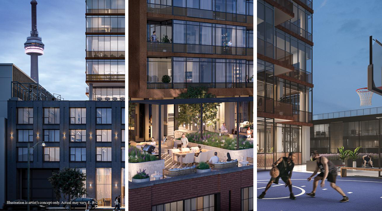 Renderings of 55 Mercer Condos amenities.