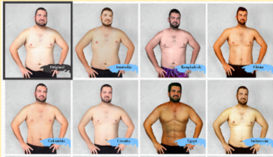 A man's body was Photoshopped to show different beauty standards around the world
