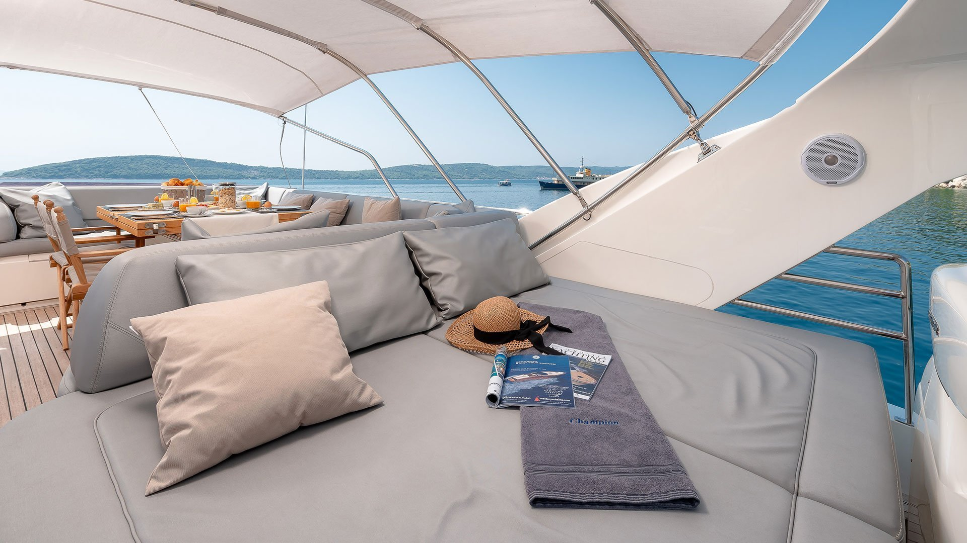lounge beds on top of yacht