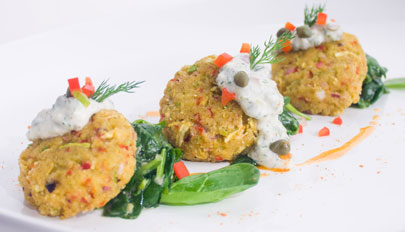 Vegan Bay Crab Cakes with Creamy Dill Tartar Sauce