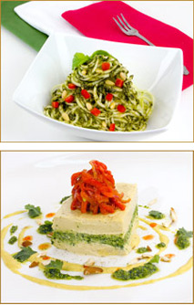 Zucchini with Basil Pesto and Almond Cheese Torte