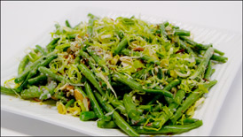 Green Beans Almondin with Crispy Leeks