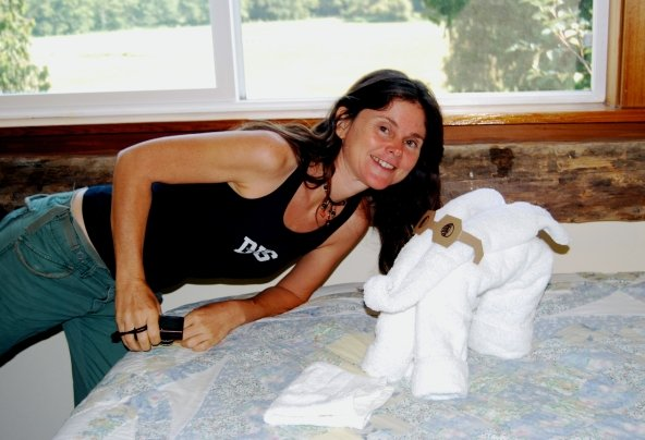 Janie Gardener with one of her towel animals at the FoodnSport Retreats