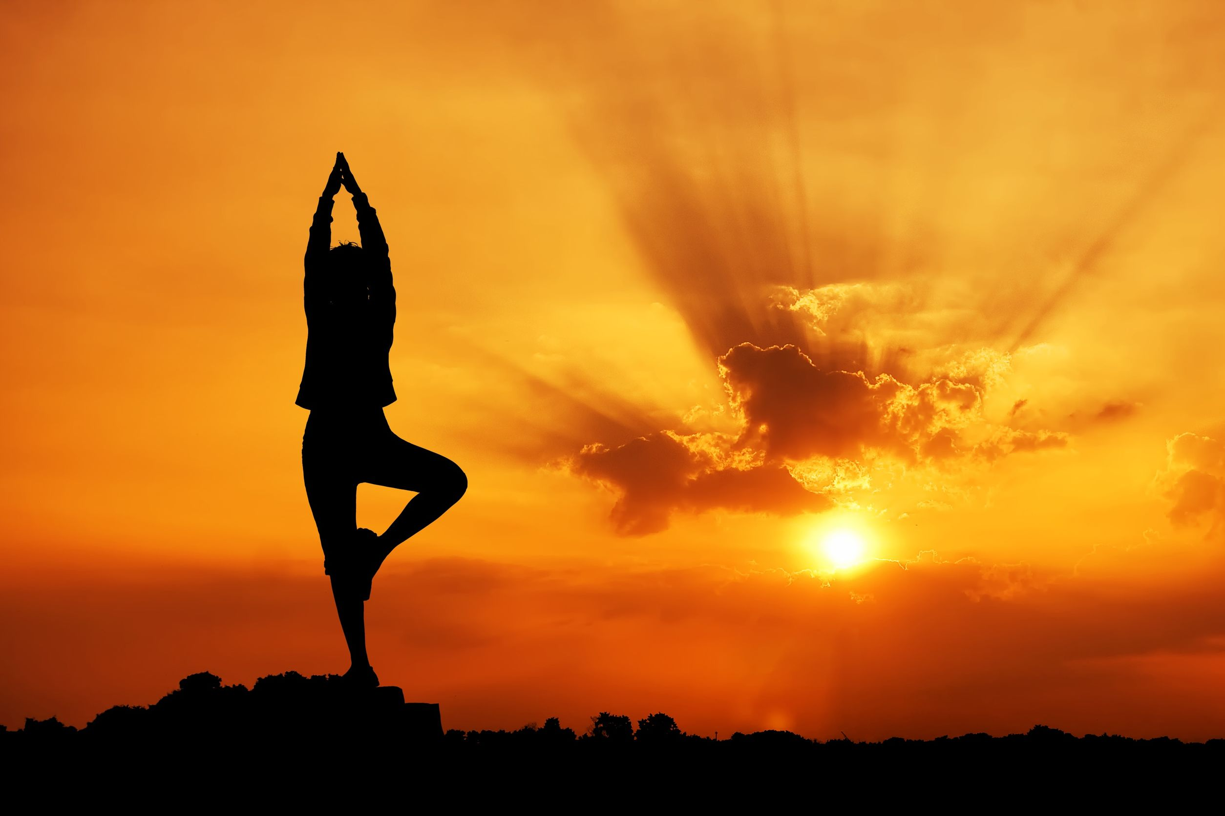 Yoga pose with Sunset