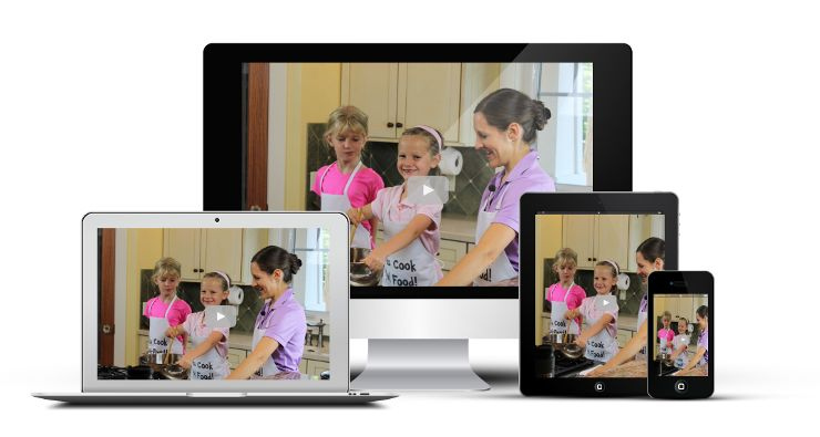 Kids Cooking Classes showing on various electronic devices