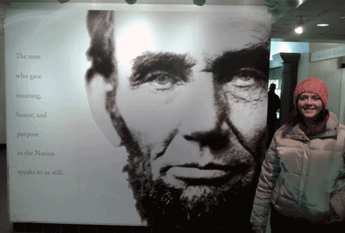Angella with Changemaker Abraham Lincoln
